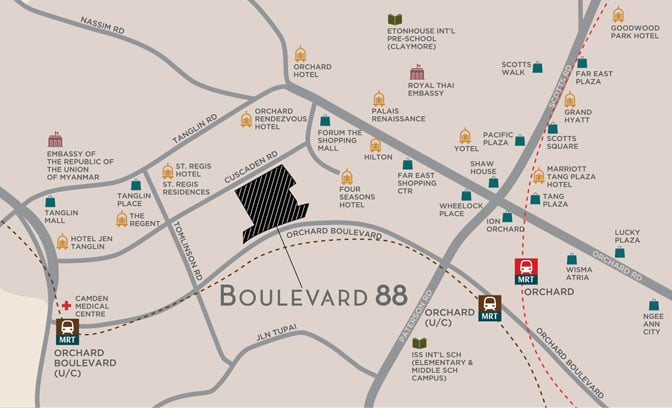 Boulevard 88 @ Orchard - Location Map - Developer Discount 6100 7757